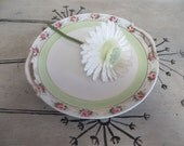 Hand Painted Nippon Plate Shabby Pink and Green Roses Cottage Chic Decor Serving Plate Serving Dish Candle Plate