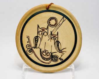 Mid Century Modern Owl Wall Tile - Signed Studio Pottery Stoneware - 1970's Era Ceramics - Modern Graphics - Hippie Woodstock Era