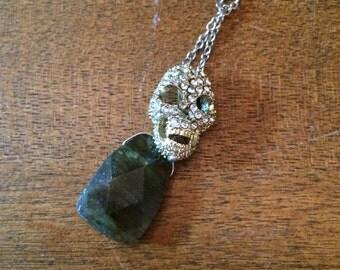 Rhinestone Skull and faceted Labradorite stone Pendant
