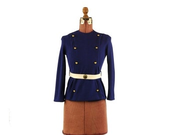 ON SALE Vintage 1960's Mod Navy Blue Military Sargent Pepper Knit Button Up Belted Blouse Top Shirt S