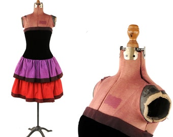 Vintage 1980's AJ Bari Black Velvet Strapless Mini Grosgrain Colorblock Mini Ruffle Party Prom Dress S