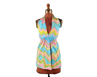 Vintage 1960's Mod Sky Blue Abstract Pastel Rainbow Zig Zag Print Summer Cotton Halter Top Blouse S