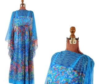 Vintage 1970's Abstract Rainbow Sheer Chiffon Kimono Sleeve Hippie Empire Waist Festival Dress S M