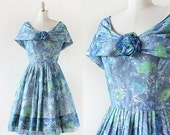 75% OFF LAST CHANCE 1950s Gigi Young Floral Party Dress / Rosette Party Dress / Blue Flower Print Dress / 1950s Prom Dress / 1950s Party Dre