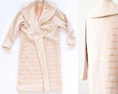 Pink Ribbon Coat / Cream Wool and Ribbon Coat / 1920s Inspired Style / Flapper Coat / Medium Large