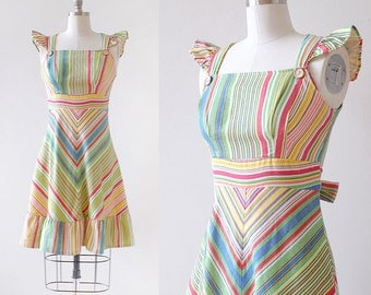 1970s Rainbow Dress / Striped Rainbow Dress / Chevron Dress / Flutter Sleeves / Sundress / 1970s Sun Dress / Extra Small XS  Small