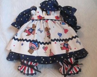 Handmade 4 pc Americana Raggedy Ann Dress for a 18-20'' Doll
