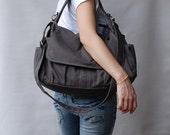 Back To School SALE 30% - Pico in Dark Grey (Water Resistant) School Bag / Shoulder Bag / Messenger Bag / Diaper Bag/Diaper Bag/ School Bag/