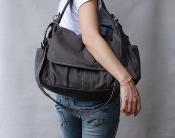 Back To School SALE 30% - Pico in Dark Grey (Water Resistant) School Bag / Shoulder Bag / Messenger Bag / Diaper Bag/Diaper Bag/ School Bag/