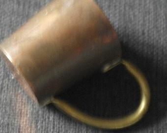 antique copper and brass small size tankard mug