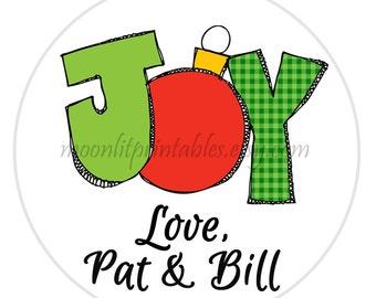 Christmas Gift Sticker, Joy Christmas Tag, Christmas Gift Label, Teacher Gifts, Stocking Stuffers, Personalized Christmas Gift Tags (632)