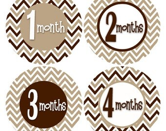 Monthly Baby Stickers, Baby Month Stickers, First Year Stickers, Brown Bodysuit Sticker, 1 to 12 MONTHS Baby Shower Gift New Baby Gift (626)