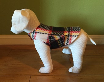 Extra Small or Small Houndstooth Plaid Dog Coat, Red, Black, White and Yellow with Red Fleece Lining