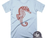 Seahorse Illustration T Shirt Nautical Tees Graphic Shirt Animal Gifts Tshirts Beach Shirt Womens Tshirts Mens Tshirts Unisex Seahorse Shirt