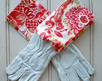 "Washable Leather Gardening Glove - in ""Strawberry Boho"""