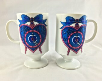 Pair of Vintage Sweetheart Clocks Pedestal Tea Coffee Cups Mugs 1970's