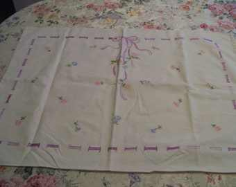 Vintage Embroidered Pillowcase Pair Lavender Bows and Flowers Feminine Shabby Chic