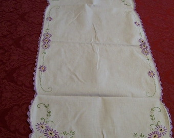 Embroidered Table Runner Vintage Lavender Embroidery and Crochet