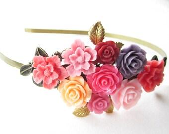 Haarreif,hair band,head band,Wedding,Bridal Headband,rose Blush Hairband, Floral Head Piece, Romantic Flower, Boho Wedding, Woodland Chic