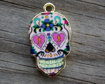 3 Enamel Sugar Skull Charms Gold Plated 23mm
