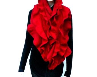 Felt ruffled scarf,  merino wool red -  Holiday Fashion - Long scarf