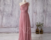 2016 Dusty Rose Bridesmaid Dress Long, Chiffon Maxi dress, Illusion One Shoulder Wedding Dress, Asymmetric Backless Party Dress (T112B)-RENZ