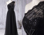 2016 Black Chiffon Bridesmaid Dress, One Shoulder Illusion Lace Wedding Dress, A Line Prom Dress Long, Women Formal Dress Floor Length(L105)