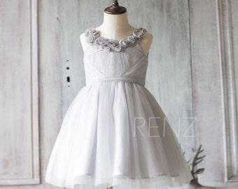 2015 Grey Junior Bridesmaid Dress, Light Gray Mesh Flower Girl Dress, a line Puffy dress knee length (JK001)
