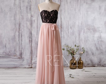 2016 Peach Bridesmaid Dress Long, Sweetheart Black Lace Wedding Dress, Strapless Prom Dress, Women Formal Dress Floor Length (G178)