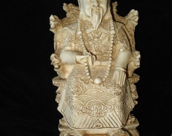Asian Carved Bone King and Queen