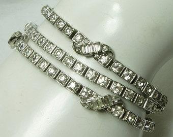 Set 3 1940s Otis Sterling French Paste Rhinestone Bracelets Baguettes Retro Art Deco Bridal Jewelry Wedding Bracelet
