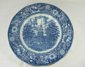 Vintage STAFFORDSHIRE DINNER PLATE Set/4 Liberty Blue Ironstone England Independence Hall