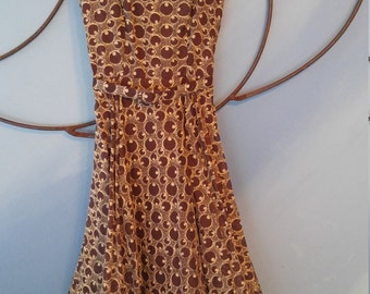 Vintage 1950's Party Dress. Brown with cream designs and matching belt, By: Frances Prisco Original, Sz 11