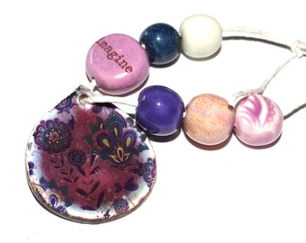 Ceramic Bead Set & Pendant Rustic Floral Shabby Chic Purple