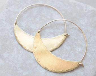 Hoop Earrings - Crescent Moon Shaped 3223