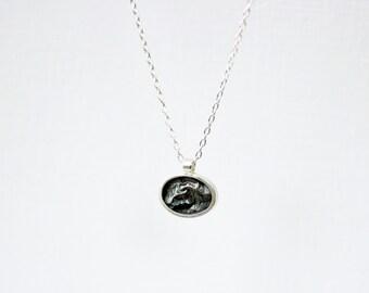 Mini Silver Oval Topography Necklace – Landscape