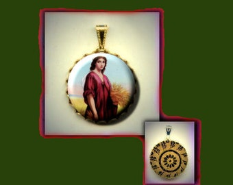St. RUTH Patron Saint of Mercy and Forgiveness Hand pressed flat button CABOCHON in Brass Charm / Pendant