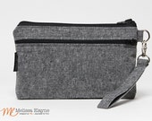 Wristlet Wallet for iPhone 6 Plus with Otterbox, Galaxy Note 5 Wallet, X-Large Wristlet -Charcoal Linen