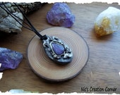 Amethyst  polymer clay Pendant/Necklace.