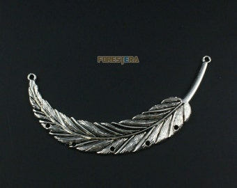 4Pcs Antique Silver Feather Charm Feather Pendant Feather Connector 90x16mm (PND1326)