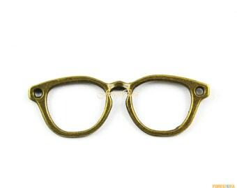30Pcs Antique Brass Glasses Charm Glasses Pendant 55x19mm (PND1011)