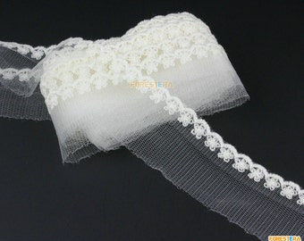 Cotton Lace Trim White Tulle Lace Trim Floral Lace Ribbon 3cm Width -- 5 Yards (LACE249)