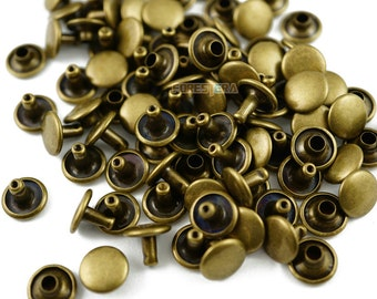 Size: 9*6mm Antique Brass Double Cap Round Rapid Rivet Punk Rock Leathercraft Rivet 9*6mm [Cap Diameter*Shank length] (BR-RI9x6)