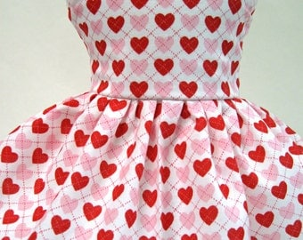 Argyle Hearts, Valentine's Day Sleeveless Dress for Your American Girl Doll