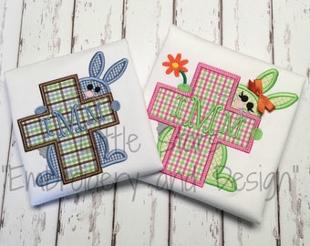 Boy Bunny peaking from behind Cross - Appliqued and Personalized Shirt