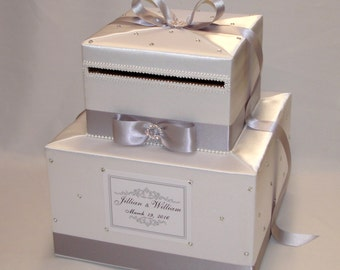 Two Tier White Card Box with Silver Ribbon and Bow-Rhinestone accents