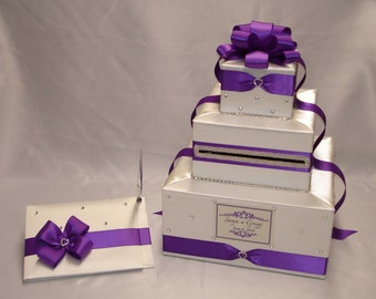 Ivory and Royal Purple Wedding Card Box and matching Guest Book with Pen-any colors