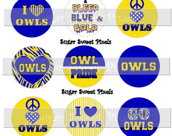 INSTANT DOWNLOAD OWLS Royal Blue & Yellow Gold  School Mascot 1 inch Circle Bottlecap Images 4x6 sheet
