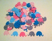 "100 MODERN ELEPHANT DECOR pinks, blues and grey  ""Dreamy"" Hand Punched  Baby Shower Confetti, scrapbooking, cards"
