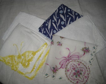 5 hankies, all have a little tare in them. Listing them for maybe someone sewing doll clothes.